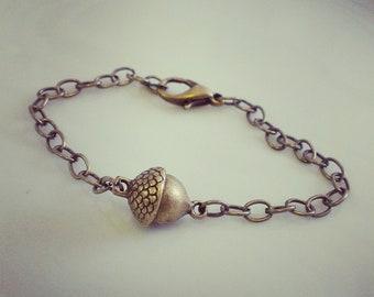 brass acorn bracelet