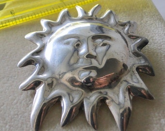 Sterling Silver Sun Brooch Big