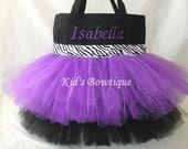 Monogrammed Tutu Bag - Purple and Black Zebra Ribbon Trim Personalized Tutu Tote Bag