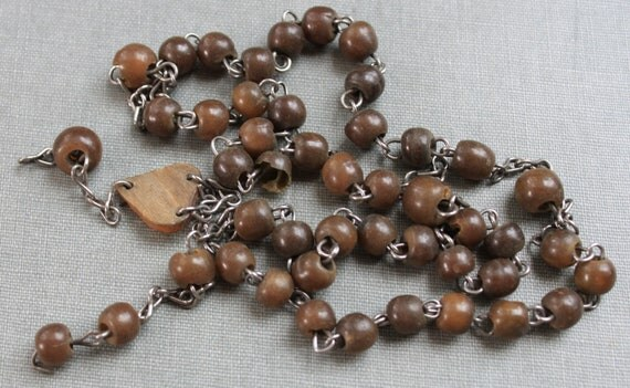 19th Century Horn Rosary Beads / Salvaged