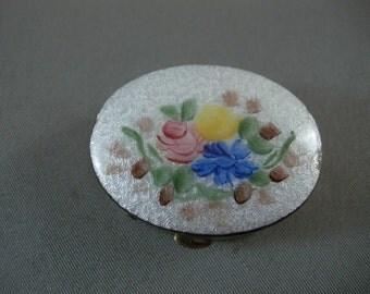 Vintage Enamel Floral  Oval  BrassPill Box