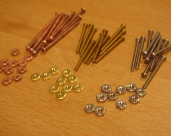 Screw rivet Sampler pack - 30 sets, 60 pieces- 1/16 micro screws and bolts  - For Jewelry making cold connections