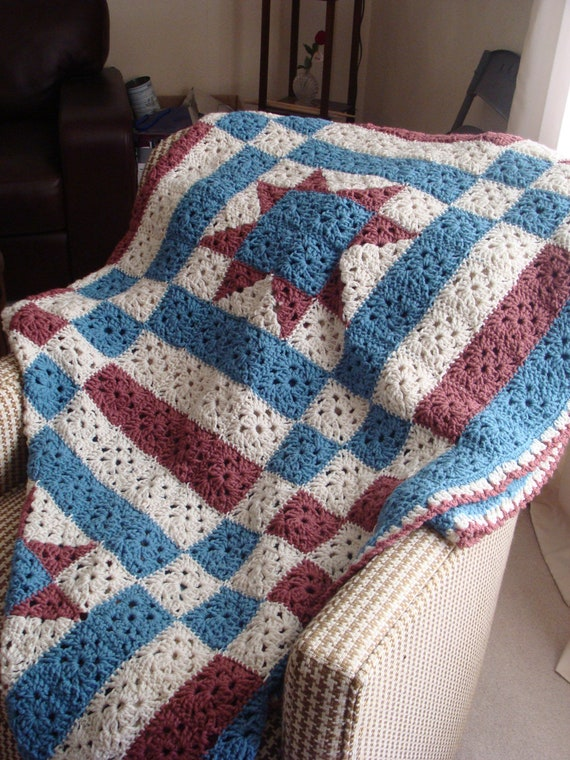 Red, White, Blue Lone Star Quilt Afghan