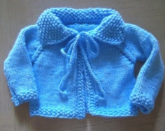 Jacket - Hand Knitted Jacket for Baby Boy 6 - 12 Month - Blue Acrylic Yarn