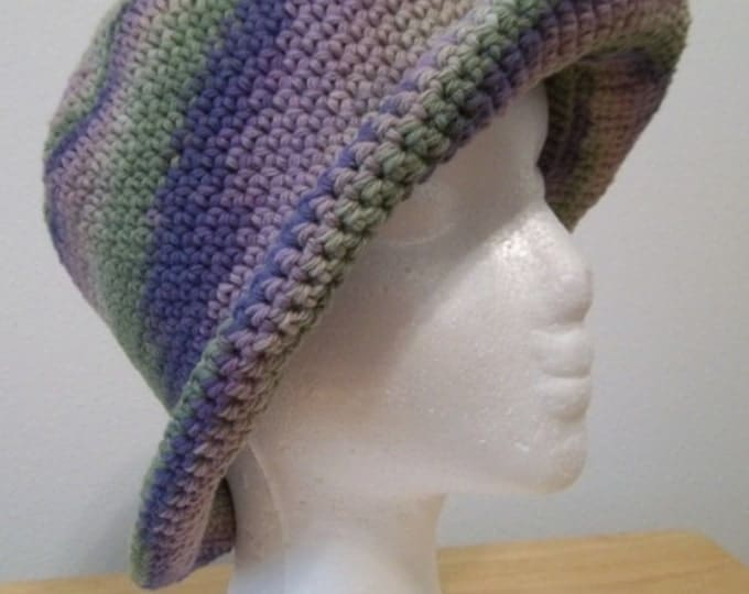 Hat - Crochet Hat with Roll-Up Brim in Mixed Colors of Green and Lilacs