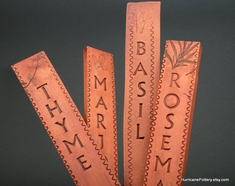Ceramic Garden Markers. 4 Plant Labels. Sturdy, Durable, Thick, Long. MADE to ORDER