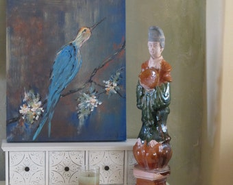 """Bird Painting,  Art on Canvas ,  Home Decor,  Wall Art,  16"""" x 20""""  Original By Artist, Blues, Rusty Brown, Gray, Creams and Golden Yellows"""