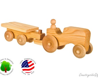 Wooden Toy Farm Tractor w/ Cart - Natural