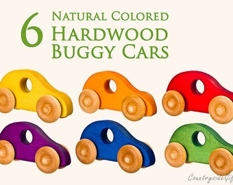 Wooden Toy Cars - Handcrafted Natural Organic Wooden Toy Car - Hardwood Wooden Toy Buggy Car - 6 Colors Wooden Toy Cars