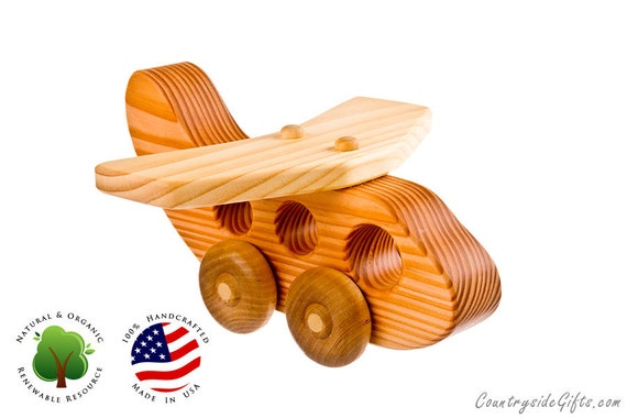 Wooden Toy Passenger Jet Airplane - Natural & Organic Wooden Toy Airplane- Wooden Toy Jet
