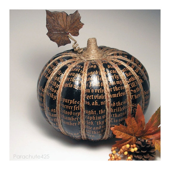 The Raven Pumpkin 121, black decoupage pumpkin, Halloween, Fall decor, noir, macabre, goth
