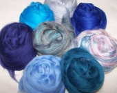 Merino Wool Silk Roving Felting Spinning Kit - Blending Board Roving - Blue