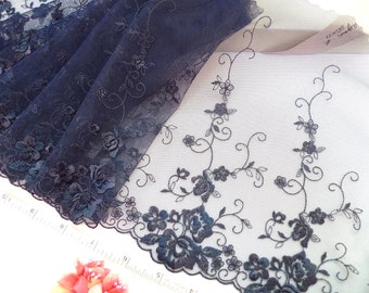 Lace trim, Embroidered lace, Tulle lace, Blue lace, Embroidered fabric, 2 yards BL092