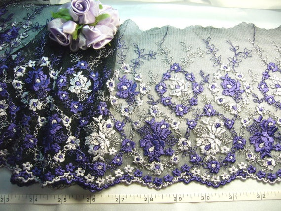 Black lace embroidered floral tulle trim 2 yards BK010