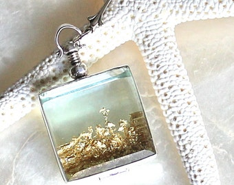 Sands of Time Shake Necklace in Sterling Silver with Gold Flakes - Large Pendant - THE ORIGINAL