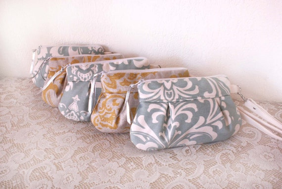 Set of (5) Small Kitt Wristlets in Damask Canvas / Bridesmaid Gift idea---Save 10% w/ code SAVE10