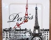 Black and White Paris Eiffel Tower Wall Clock - 6 Inch Clock - Porcelain Plate Wall Clock - Small Wall Clock -  1716