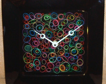 Wall Clock -  Funky Bright Rubber Band Pattern on Black Ceramic Plate Wall Clock No. 936 (10 inches)