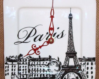 Black and White Paris Eiffel Tower Wall Clock - 6 Inch Clock - Porcelain Plate Wall Clock - Small Wall Clock -  1716