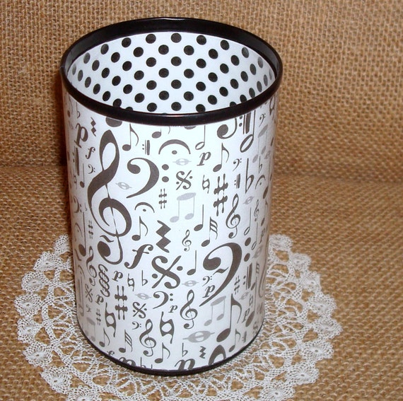 ON SALE - Black and White Musical Decorative Can Pencil Holder No. 197