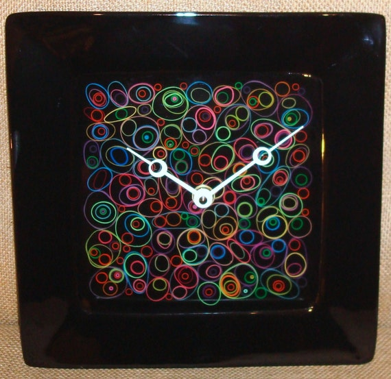 Wall Clock -  Funky Bright Rubberband Pattern on Black Ceramic Plate Wall Clock No. 936 (10 inches)