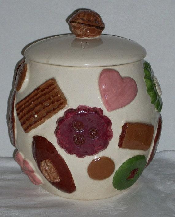 Vintage Cookies All Over Cookie Jar Lid Needs Repair