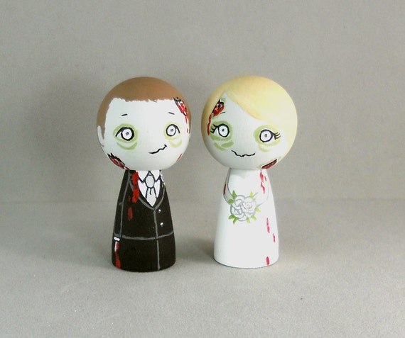 Zombie Bride and Groom Wedding Cake Toppers
