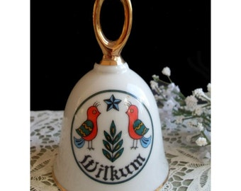 Porcelain Dinner Bell - Amish Welcome Sign Of TWIN BIRDS - WILKUM Limited Edition 1982