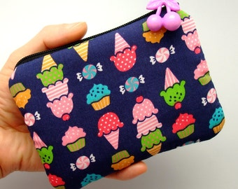 Ice cream - Zipper pouch / coin purse (padded) (ZS-39)