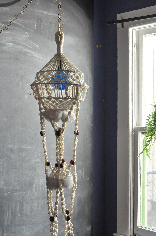 Vintage Macrame Large Hanging Swag Lamp Decor