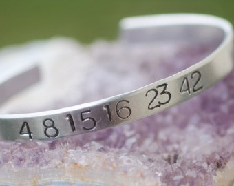 "LOST Numbers  ""4 8 15 16 23 42""  Hand-Stamped Aluminum Bracelet - FREE Shipping"