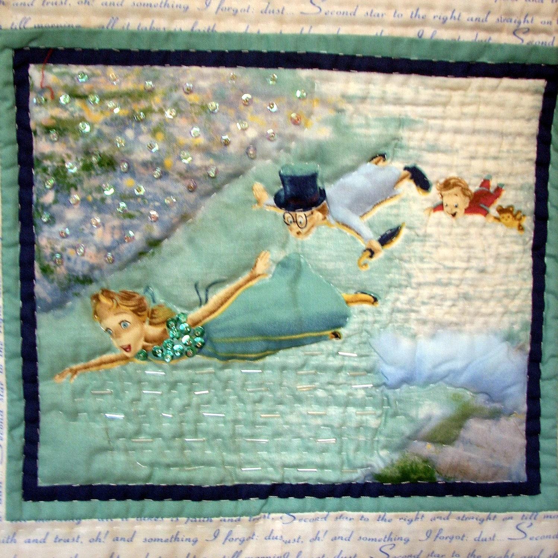 Peter Pan Tinker Bell Quilt Handmade Wall Hanging Nursery Room
