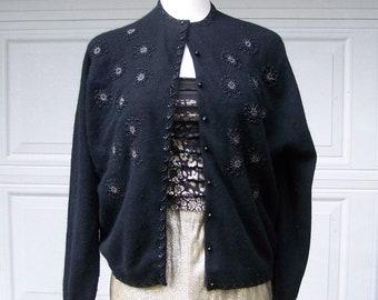 Vintage 1950s Elegant Beaded Cardigan Sweater