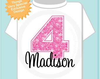 Fourth Birthday Shirt, Pink 4 Birthday Shirt, Any Age Personalized Girls Birthday Shirt Pink Age and Name Tee for kids (07172012a)