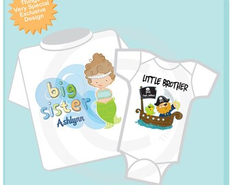 Personalized Boys and Girls Set Of Two Big Sister Mermaid and Little Brother Pirate Tees or Onesies (09172012b)