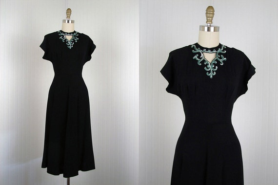 1940s Dress - Vintage 40s Black Crepe Aqua Sequins Deco Wartime Cocktail Swing Dress S -