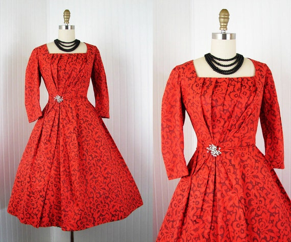 1950s Dress - Vintage Couture 50s Dress Red Lace Illusion Full Skirt Cocktail Party Rhinestones M - Soiree