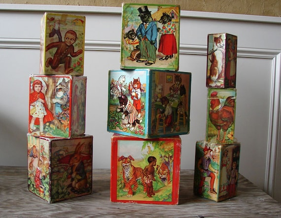 Vintage 30s Children's Storybook Nesting Blocks - 1930s Little Black Sambo and More Novelty Picture Blocks Toy