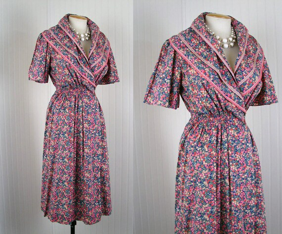 1930s Wrap Dress - AESTHETE Vintage 30s Colorful Arts and Crafts Floral Embroidered Cotton Boudoir Gown m l