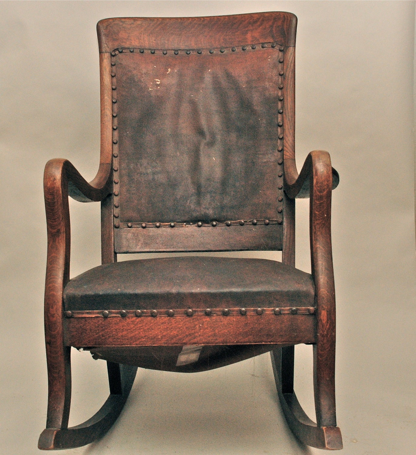 Antique High Back Oak Rocking Chair With Leather By