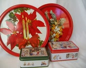 Vintage Christmas Tin Boxes and Trays Red Painted Metal Woodlands Animals