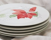 Set of 5 Block Spal Portuguese Plates, watercolor Poinsettia pattern