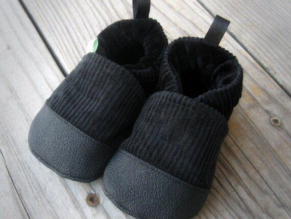Classic Vegan Jack's Corduroy in Black / Non-Slip Soft Sole Baby Shoes / Made to Order / Babies Toddlers Preschool