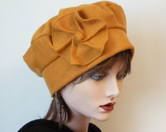SALE  -  Ladies Hat in Yellow Wool Fabric