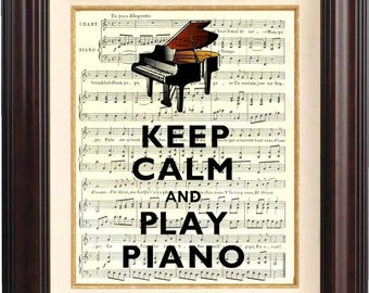 Piano print,  Keep calm and play piano Print 4, old french music sheet Wall art Keep calm art, grand piano