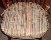 """Wooden Chair Seat Cushion with ties,Custom,16"""" x 15"""" x 2"""",Use Your Fabric,Includes Foam,Batting,Piping and a Zipper.Made To Order."""