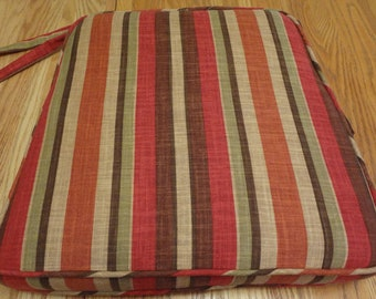 """One Chair Seat Cushion with ties, 18.5"""" x 17.5"""" x 2"""", Custom, Includes Piping, Ties and Zipper. Made to Order."""