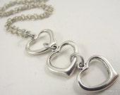 Cascading Hearts Necklace, Stainless Steel Necklace, Heart Pendant