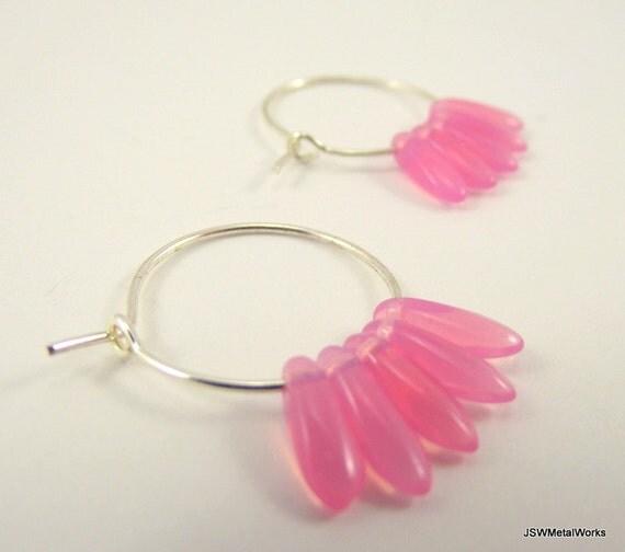 Silver Hoop Earrings, Pink Czech Glass Dagger Bead Hoop Earrings