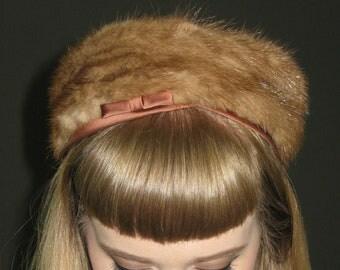 Vintage Fur and Satin PILLBOX HAT